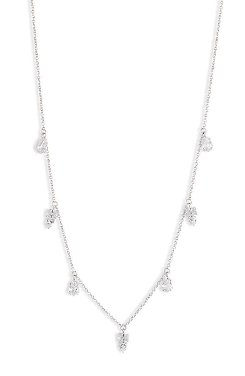 NADRI Eliza Shaky Frontal Necklace, Main, color, RHODIUM