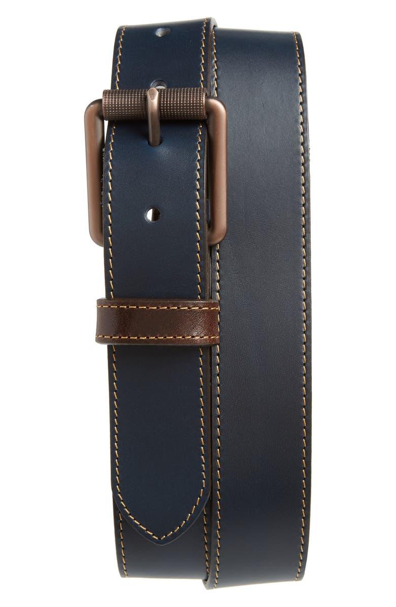 JOHNSTON & MURPHY Contrast Stitch Calfskin Belt, Main, color, 410