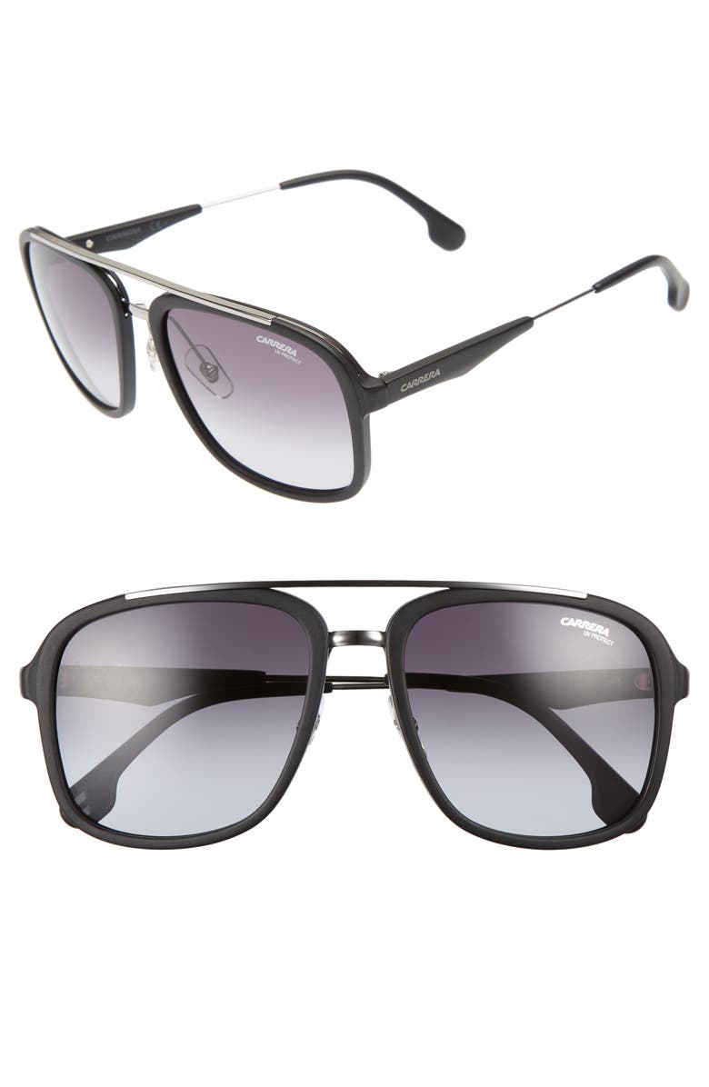 CARRERA EYEWEAR 57mm Sunglasses, Main, color, MATTE DARK RUTHENIUM