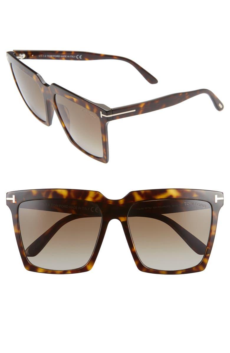 TOM FORD Sabrina 58mm Polarized Gradient Square Sunglasses, Main, color, DARK HAVANA/ ROVIEX