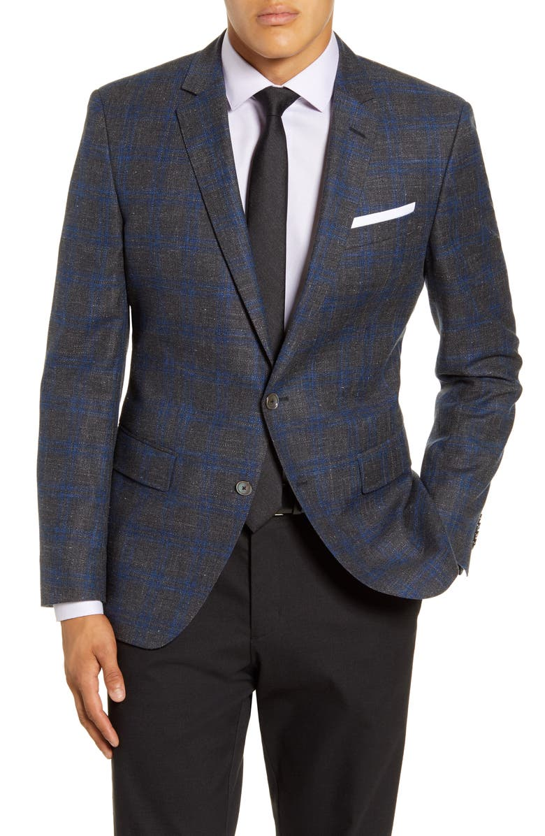 BOSS Hutsons Trim Fit Windowpane Wool Blend Sport Coat, Main, color, MEDIUM GREY
