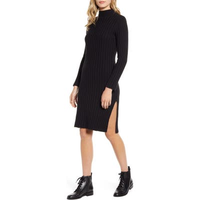 Bp. Ribbed Long Sleeve Sweater Dress, Black