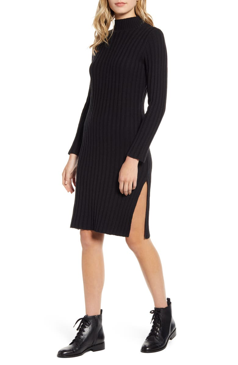 BP. Ribbed Long Sleeve Sweater Dress, Main, color, BLACK