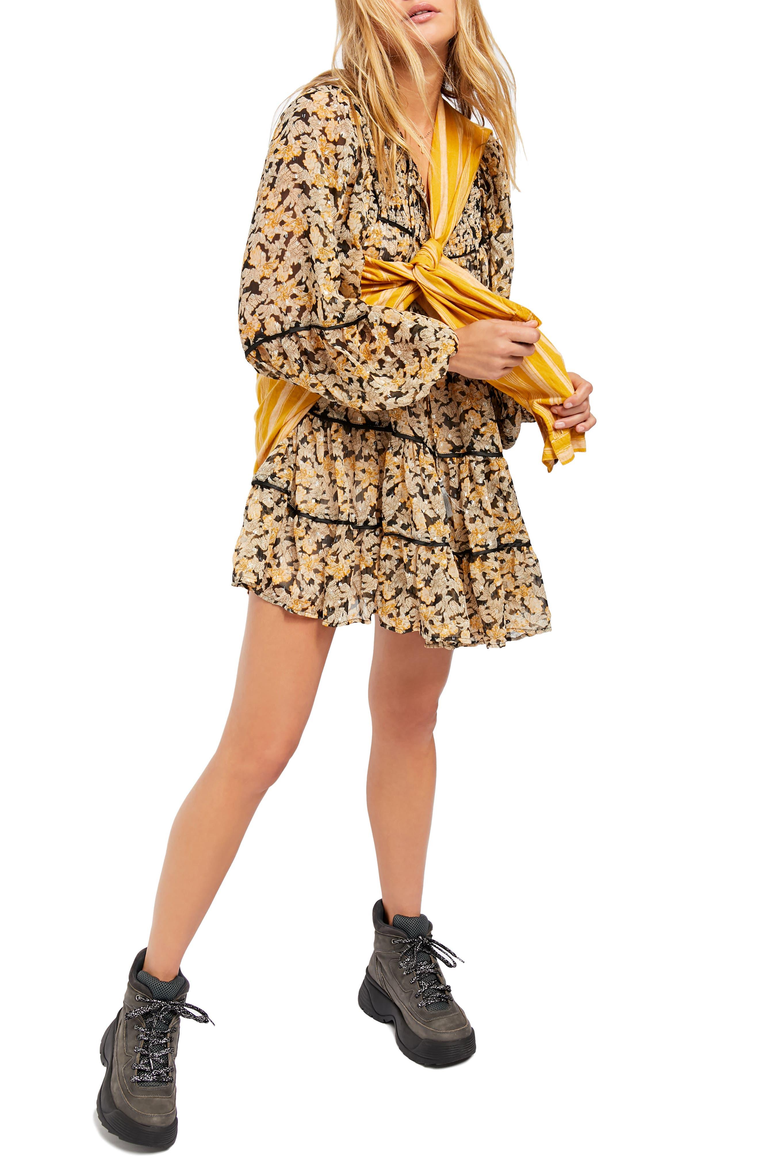 70s Dresses – Disco Dress, Hippie Dress, Wrap Dress Womens Free People Swinging Long Sleeve Tunic Dress $76.80 AT vintagedancer.com