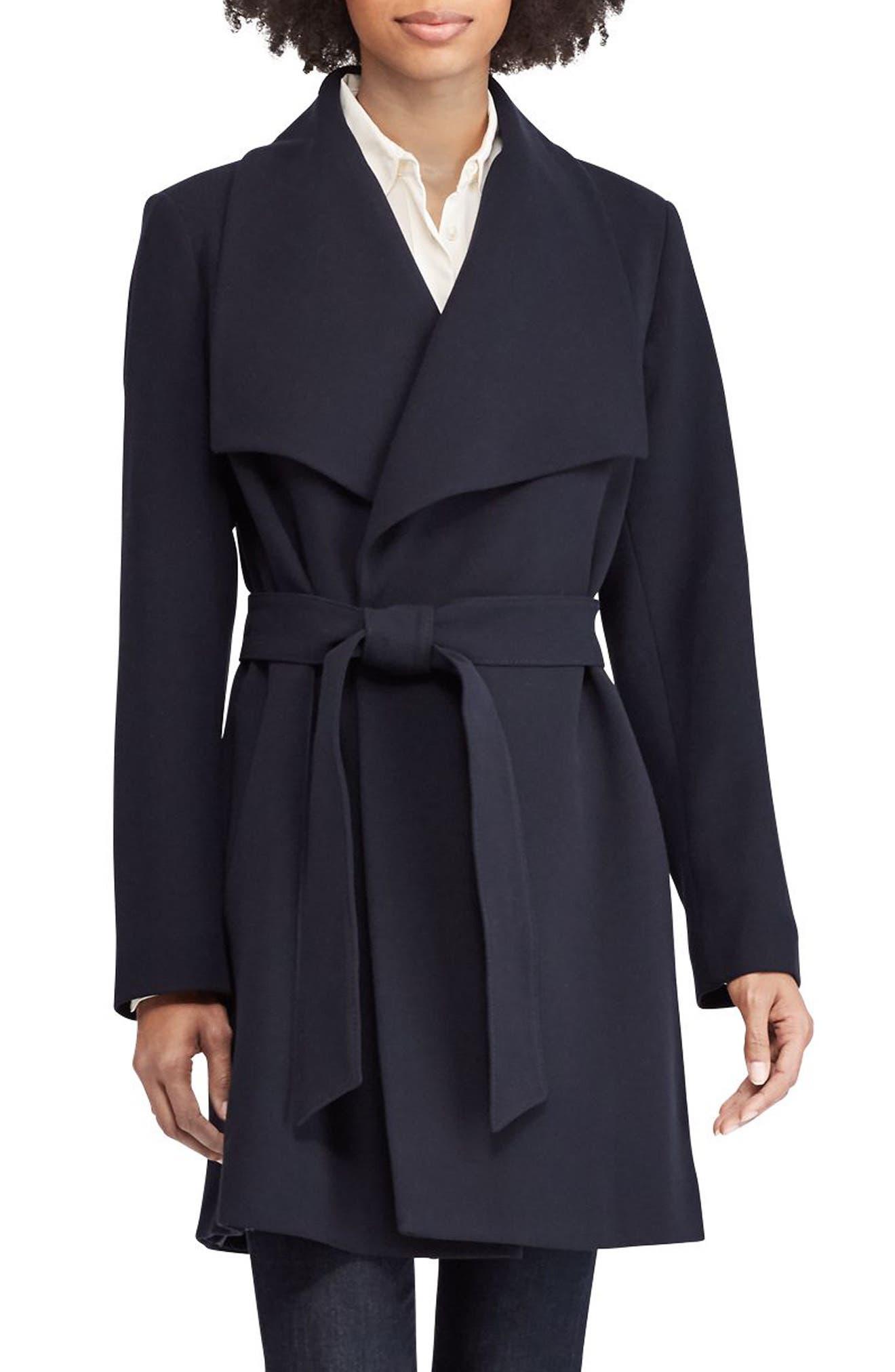 ,                             Belted Drape Front Coat,                             Main thumbnail 25, color,                             404