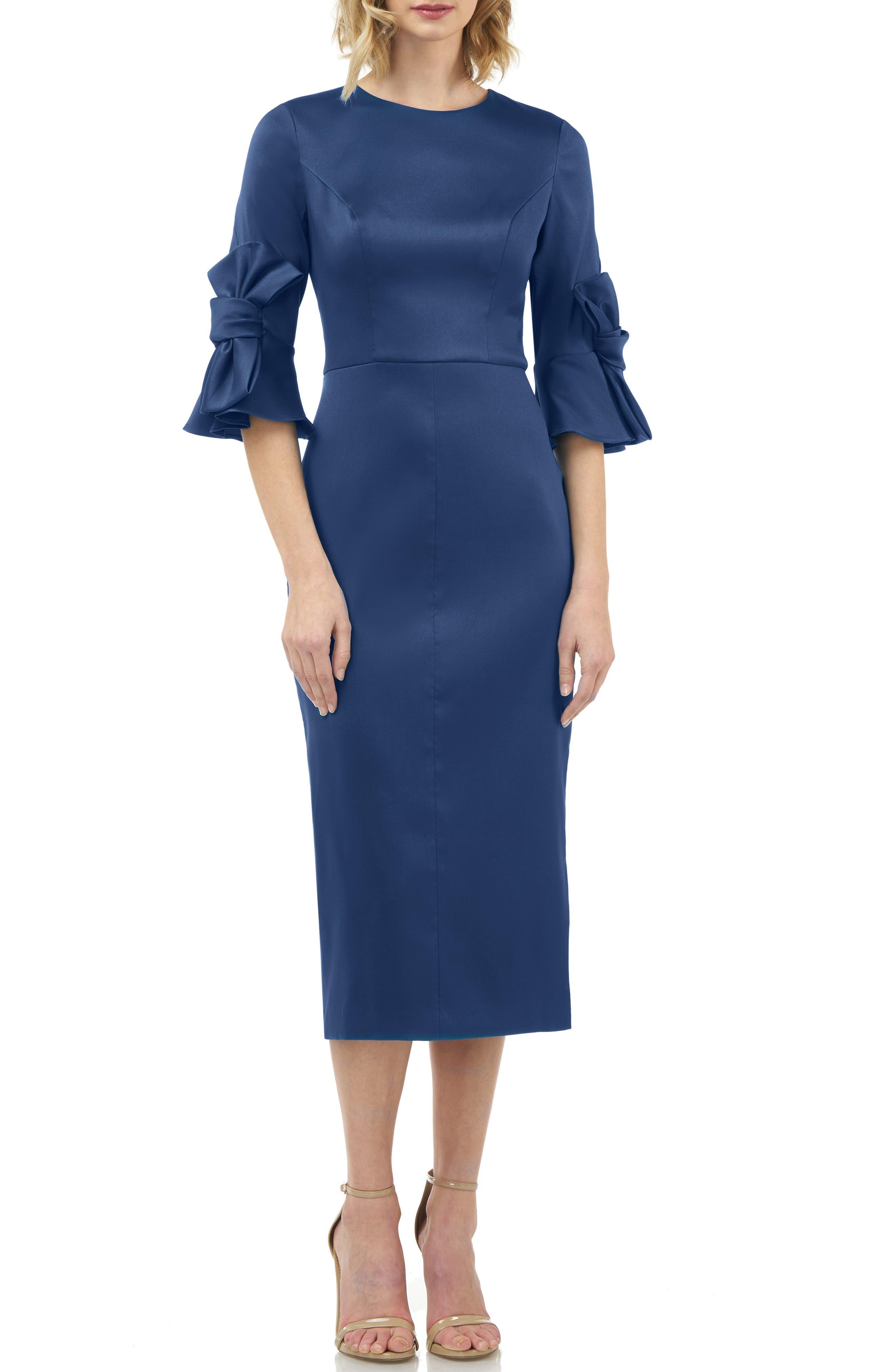 Kay Unger Bow Sleeve Stretch Mikado Dress, Blue