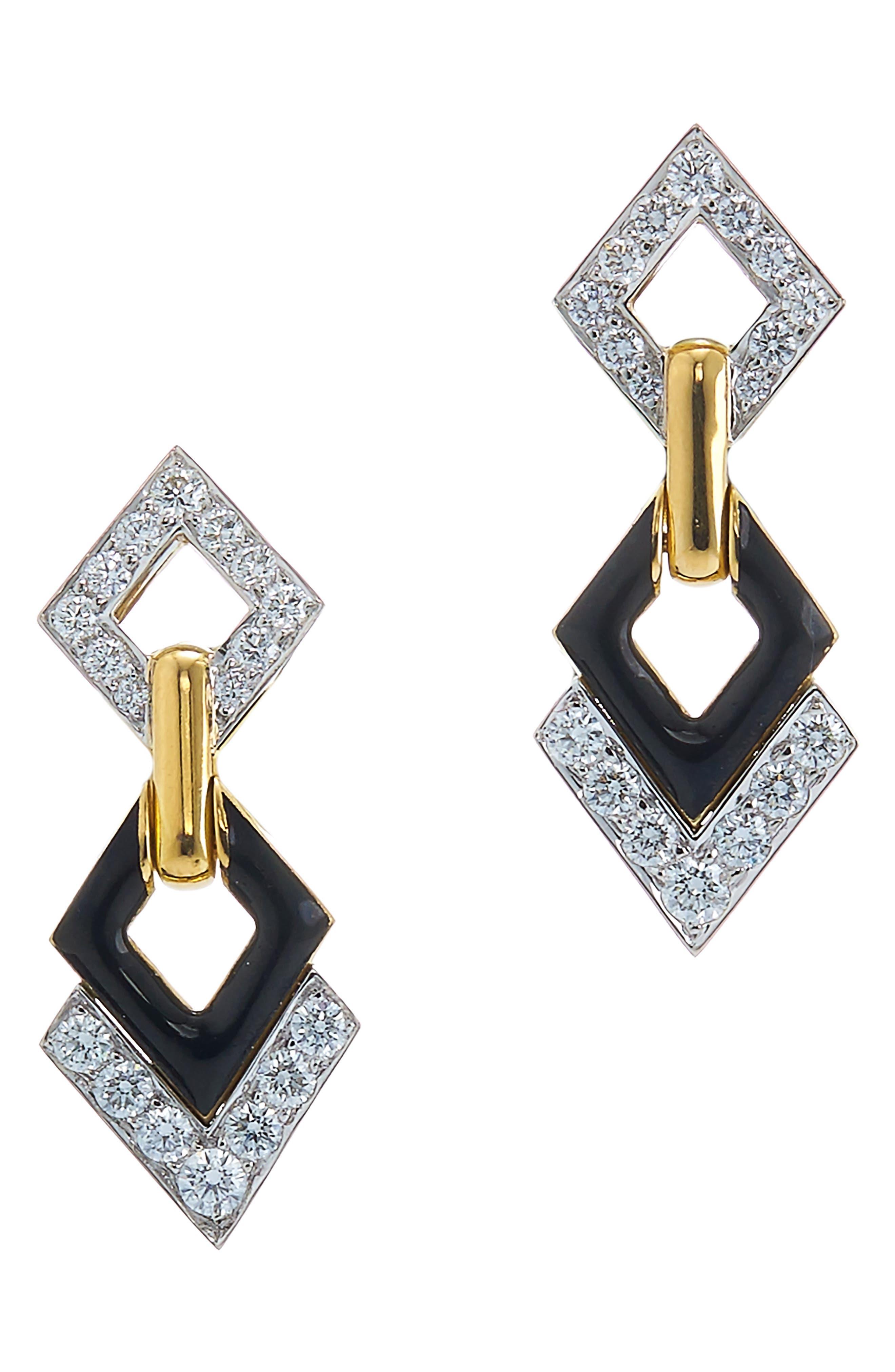 Motif Double Diamond Drop Earrings