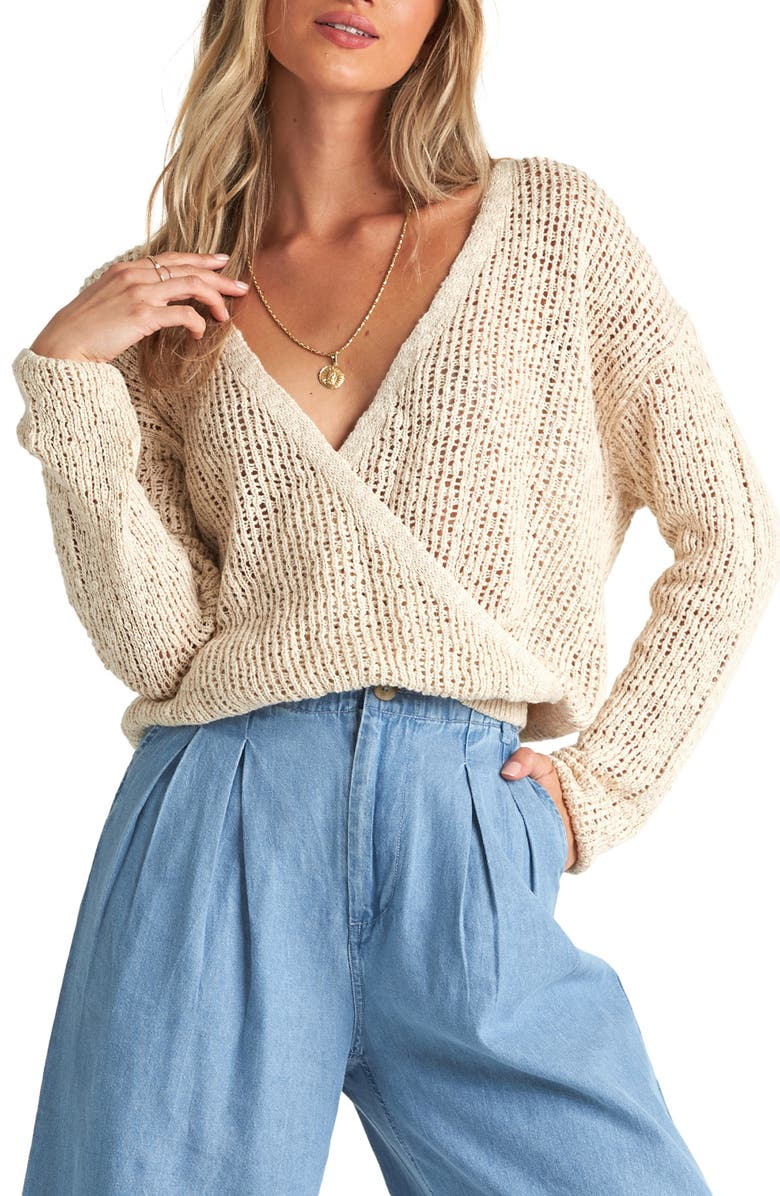 BILLABONG Sweet Bliss Wrap Front Sweater, Main, color, WHITE CAP