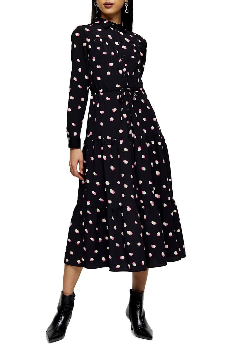 TOPSHOP Polka Dot Long Sleeve Shirtdress, Main, color, 001