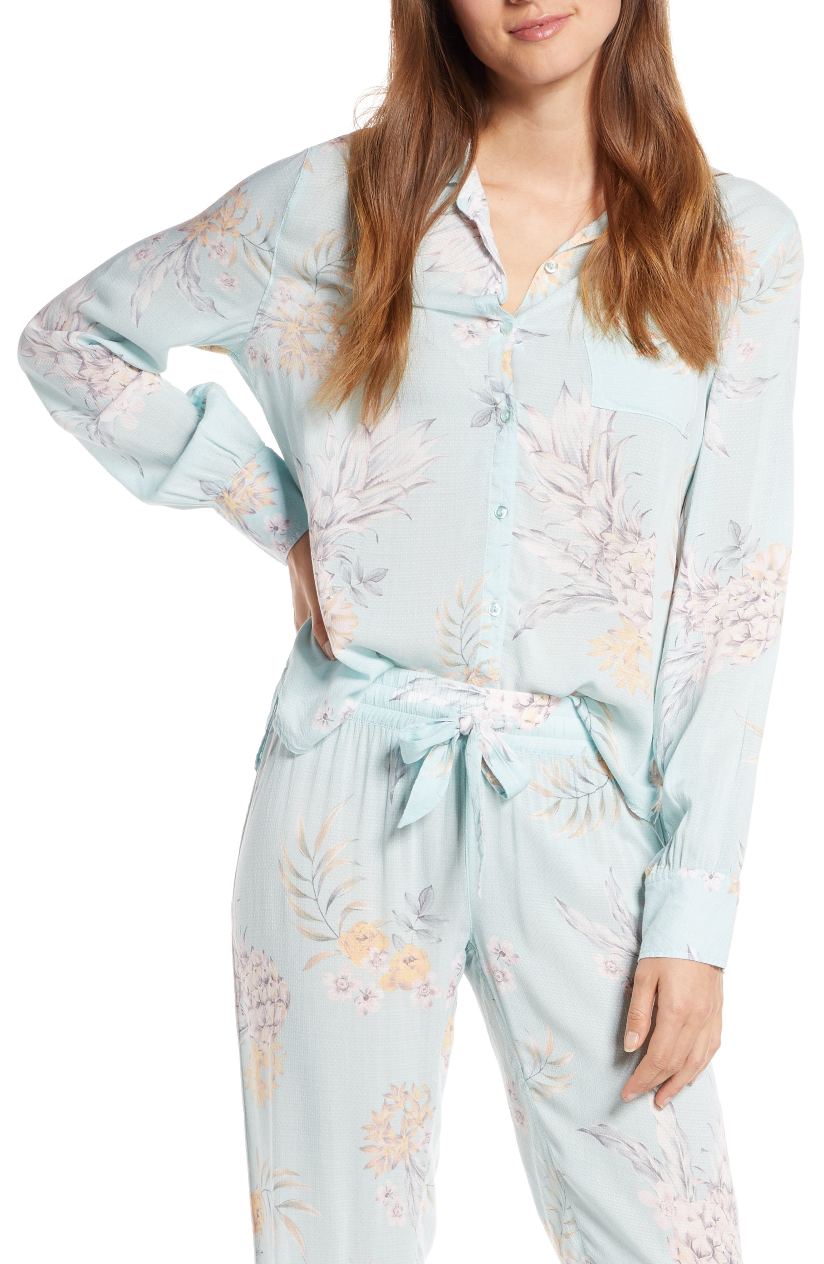 Pj Salvage Paradise Bound Dobby Weave Pajama Top, Green