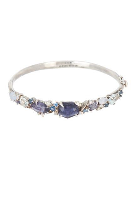 Image of Alexis Bittar Sterling Silver Topaz, Iolite, Chalcedony, Sapphire, & Diamond Cluster Bangle Bracelet