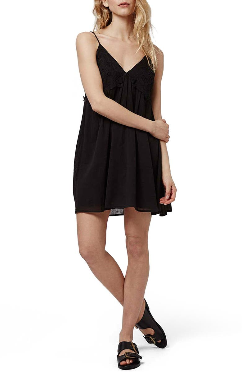 TOPSHOP Embroidered Babydoll Sundress, Main, color, 001