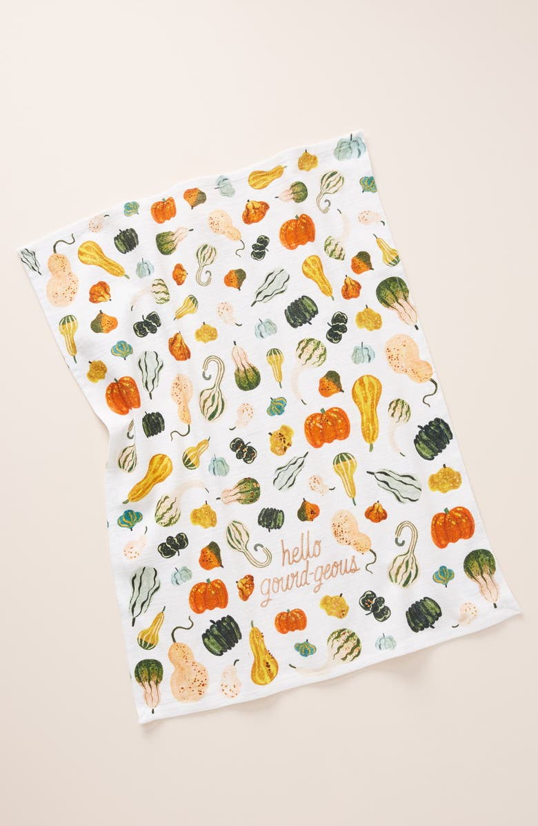 ANTHROPOLOGIE Quill & Fox Hello Gourd-Geous Dish Towel, Main, color, WHITE