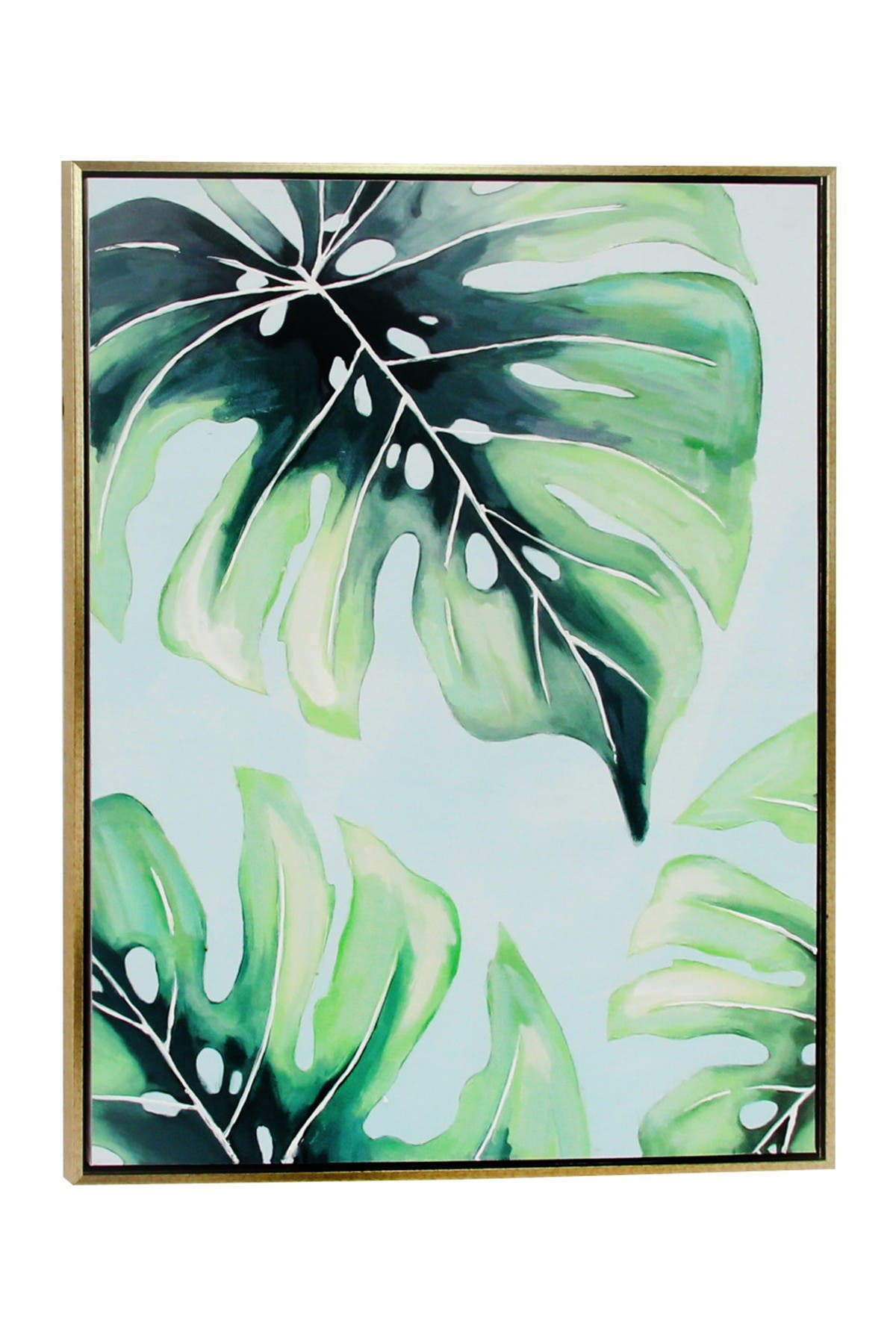 Image of CosmoLiving by Cosmopolitan Large Tropical Leaf Design Canvas Wall Art