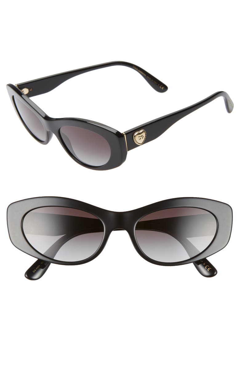 DOLCE&GABBANA 53mm Cat Eye Sunglasses, Main, color, BLACK