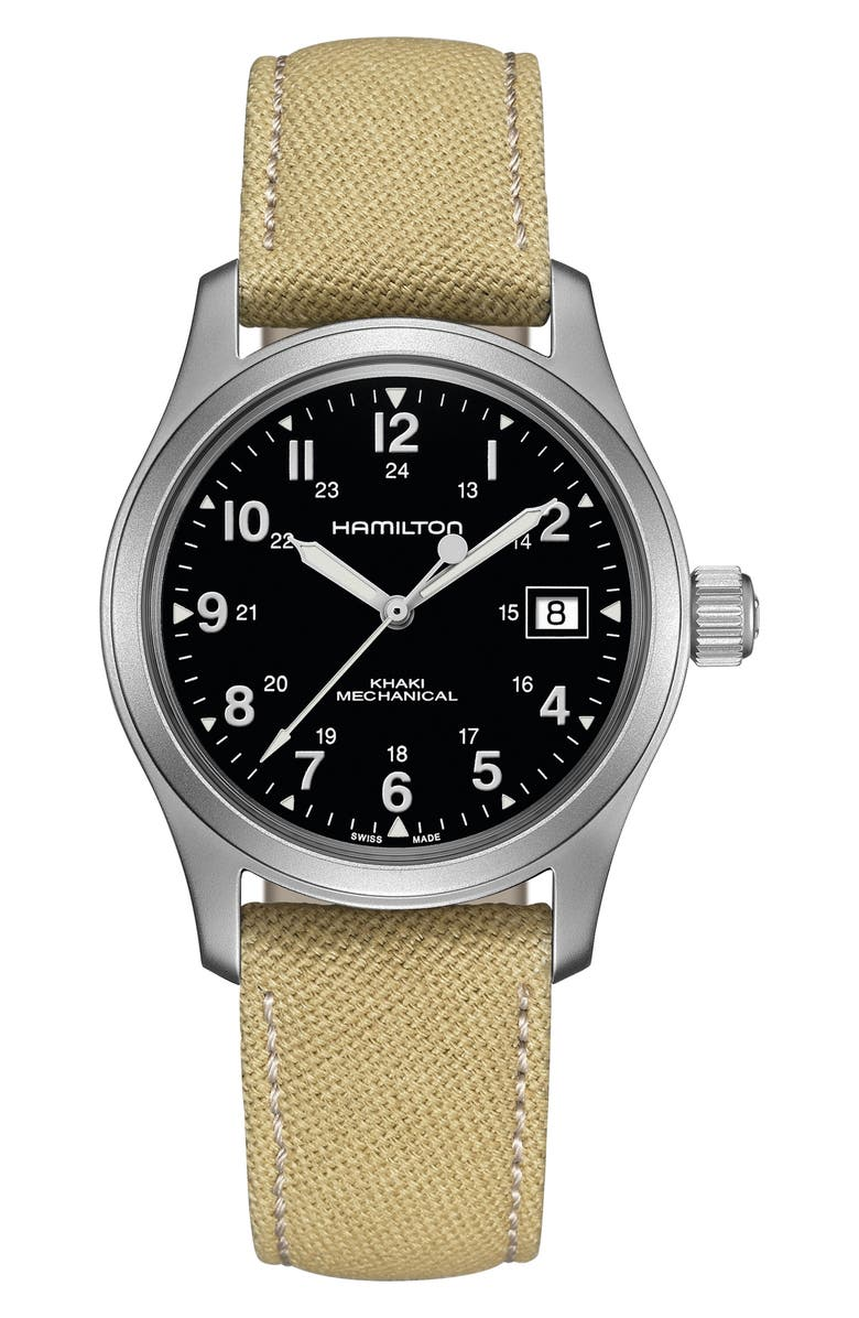 HAMILTON Khaki Field Canvas Strap Watch, 38mm, Main, color, 250
