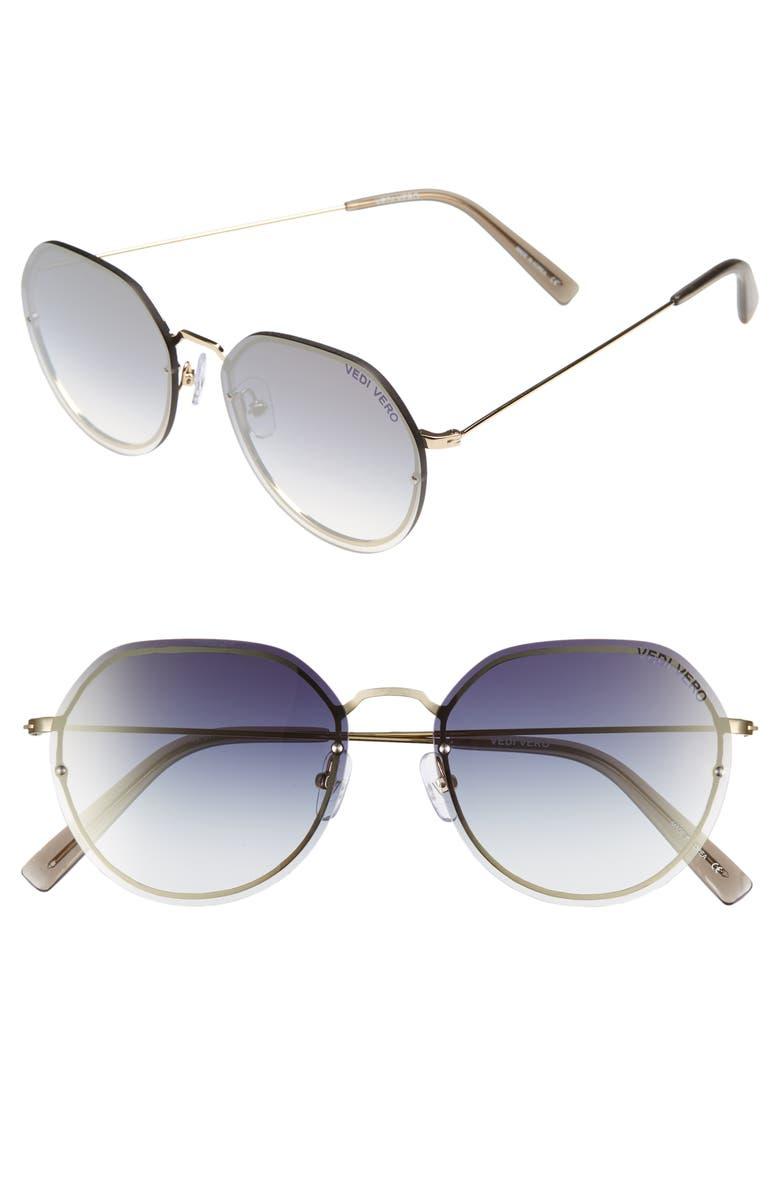 VEDI VERO 56mm Round Sunglasses, Main, color, BLACK/ GOLD