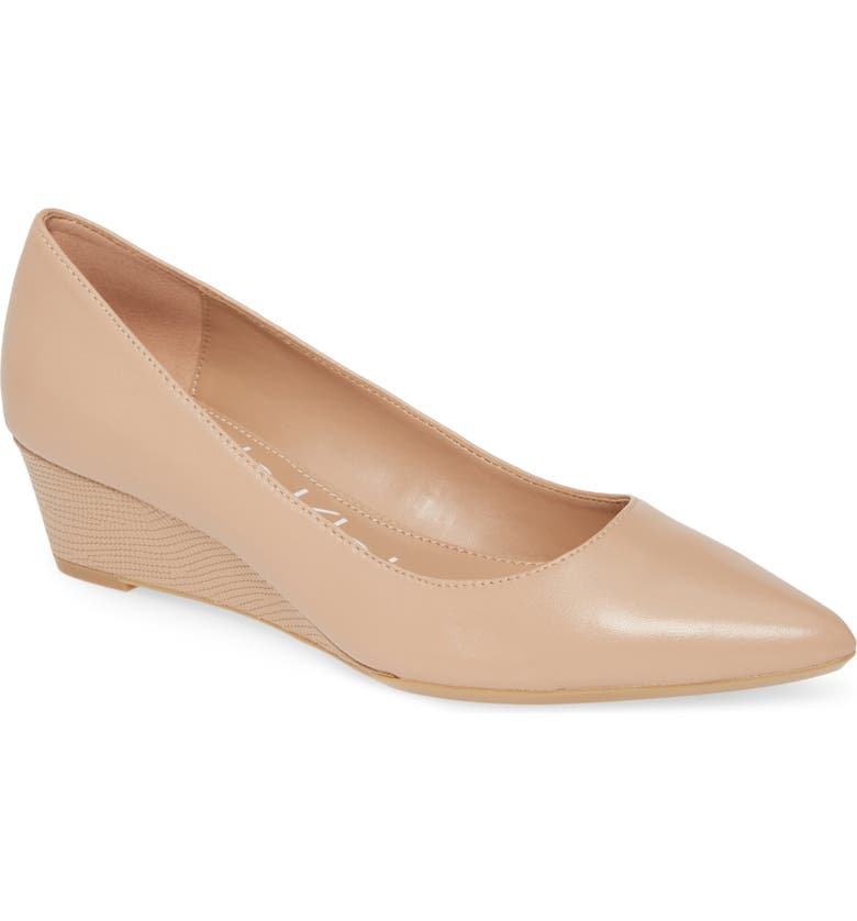 CALVIN KLEIN 'Germina' Pointy Toe Wedge, Main, color, DESERT SAND NAPPA LEATHER