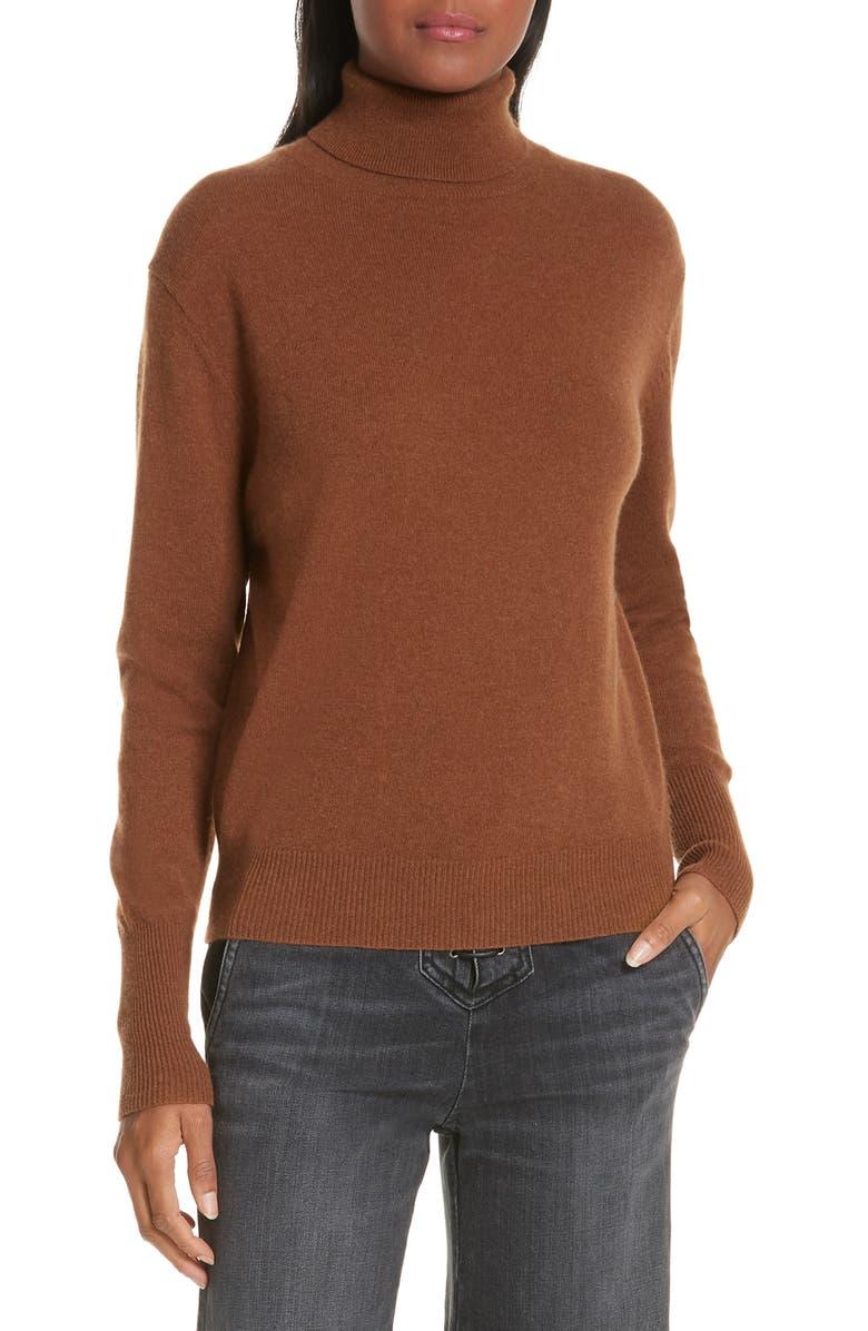 NILI LOTAN Ralphie Cashmere Turtleneck Sweater, Main, color, COGNAC
