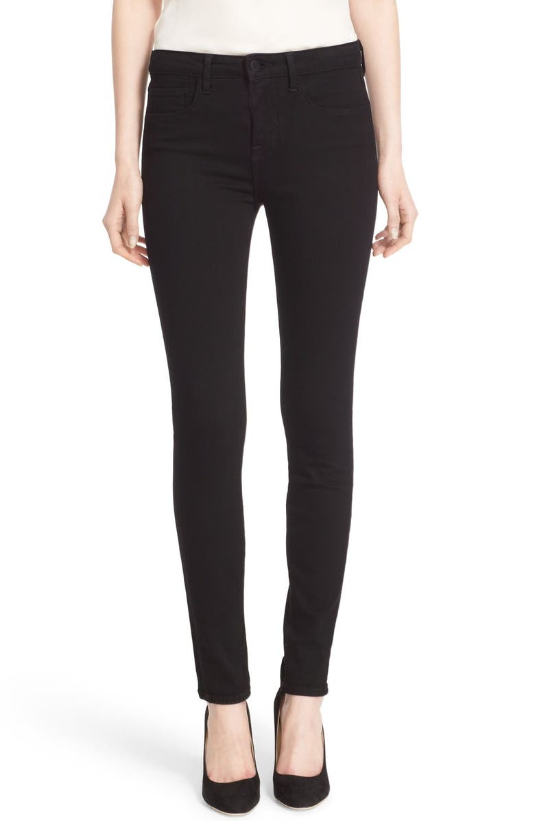 L'AGENCE '30' High Rise Skinny Jeans, Main, color, NOIR