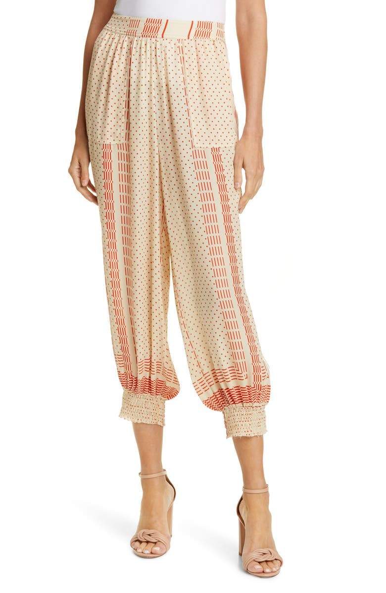 NICHOLAS Print Silk Crop Pants, Main, color, 710