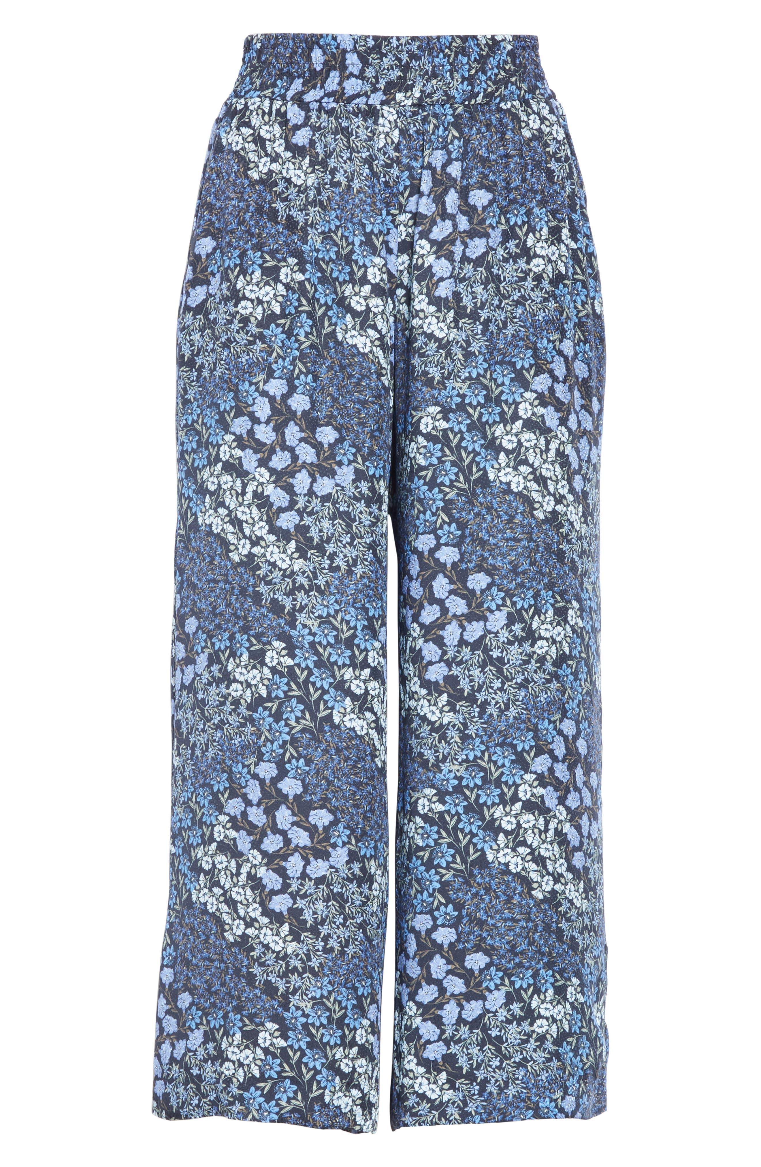 ,                             Floral Wide Leg Crop Silk Pants,                             Alternate thumbnail 7, color,                             NAVY COMBO