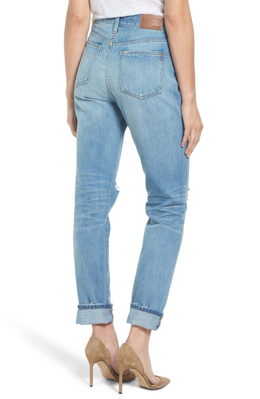 ,                             Perfect Vintage Ripped High Waist Boyfriend Jeans,                             Alternate thumbnail 4, color,                             400