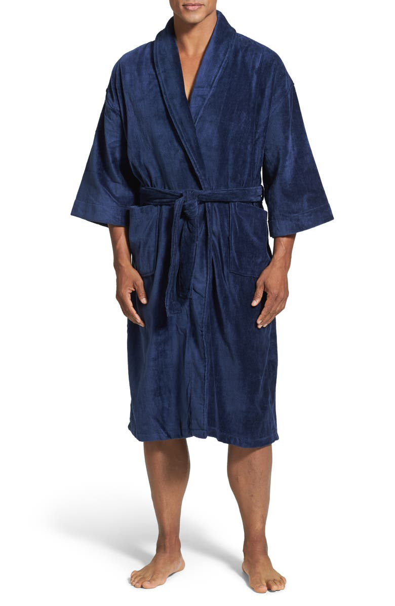 MAJESTIC INTERNATIONAL Terry Velour Robe, Main, color, NAVY
