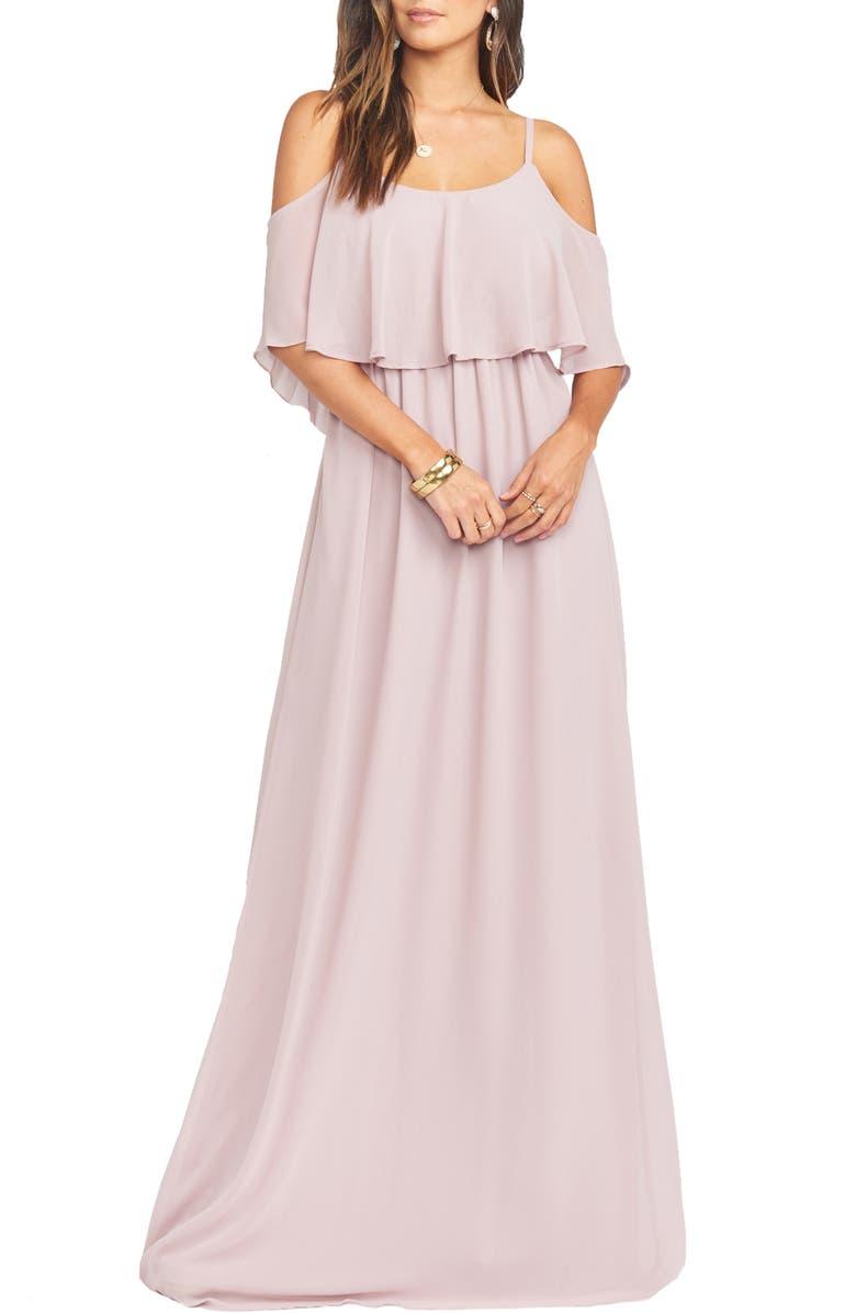 SHOW ME YOUR MUMU Caitlin Cold Shoulder Chiffon Gown, Main, color, CAMEL ROSE