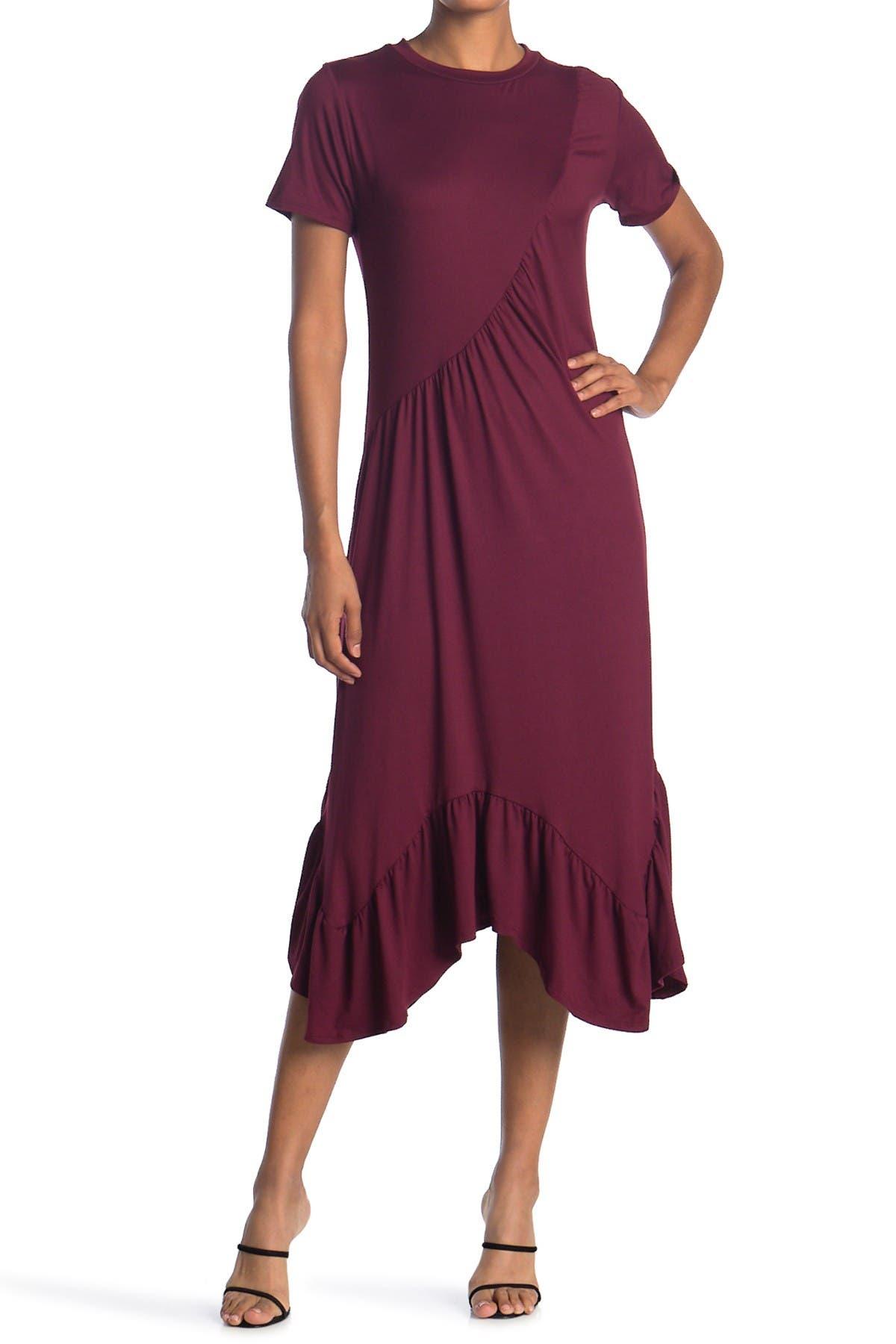 Image of Velvet Torch Asymmetrical Ruffle Maxi Dress