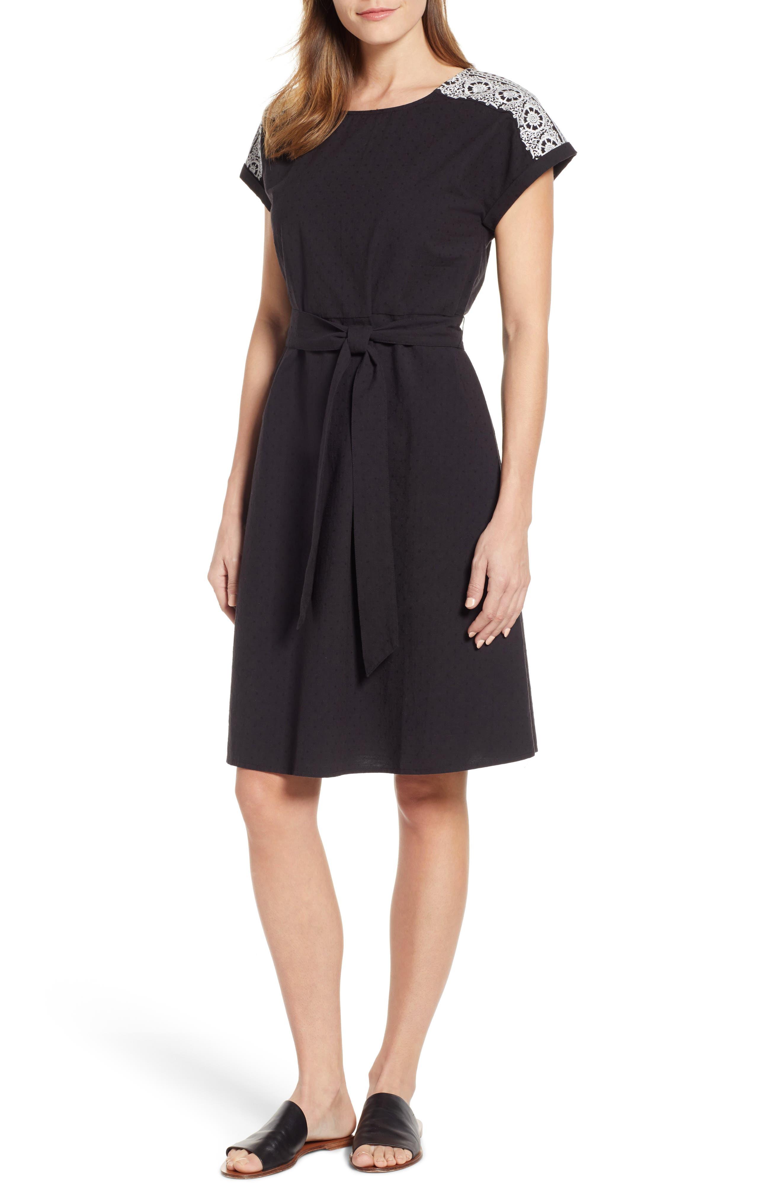 Caslon Embroidered Shoulder Cotton Dress, Black