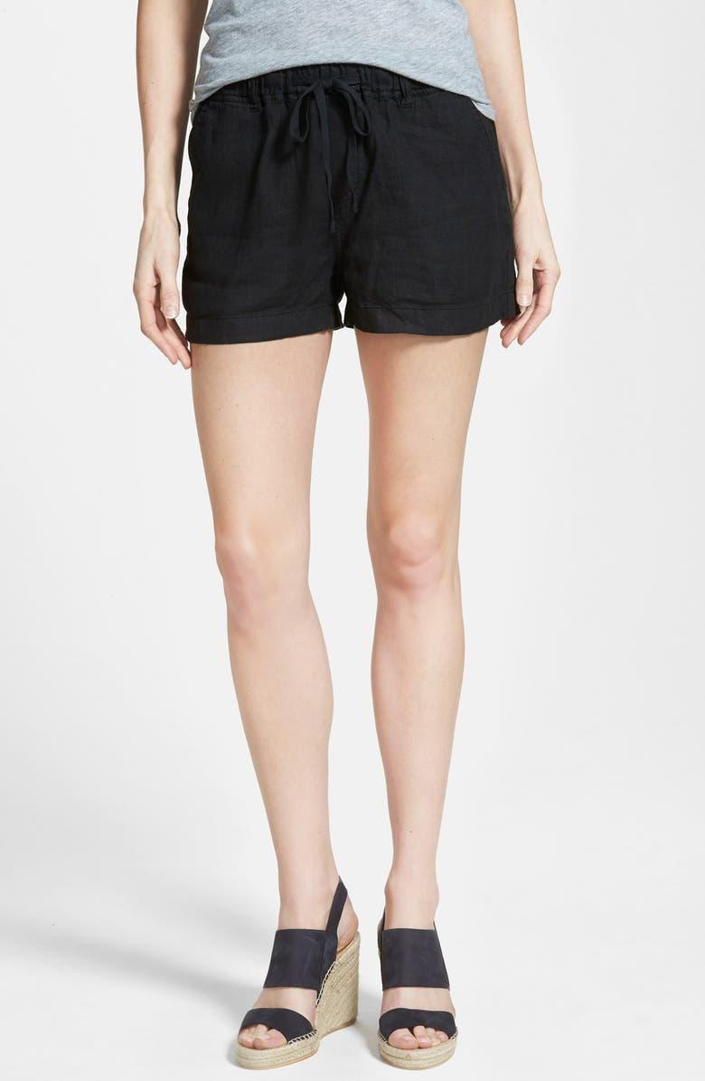 CASLON<SUP>®</SUP> Drawstring Linen Shorts, Main, color, 001