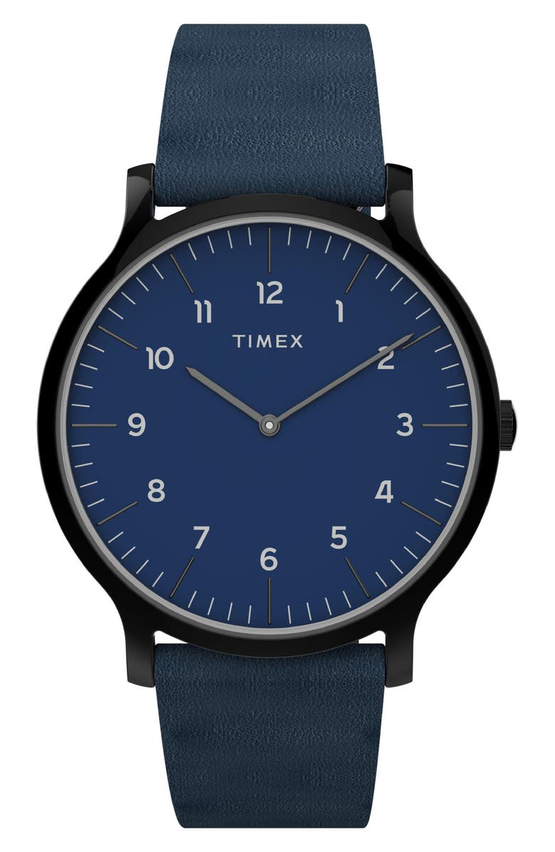 TIMEX<SUP>®</SUP> Norway Leather Strap Watch, 40mm, Main, color, BLUE/ BLACK