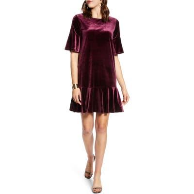 Halogen Ruffle Trim Velvet Dress, Burgundy