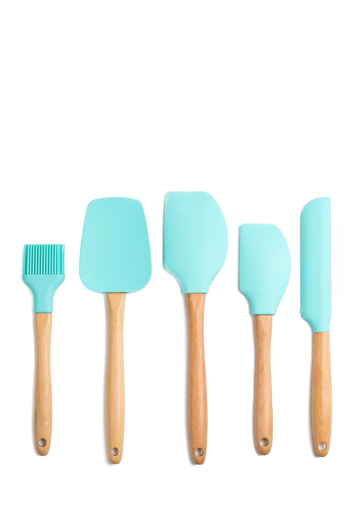 Image of Core Home Beech & Silicone Utensils - 5 Piece Set