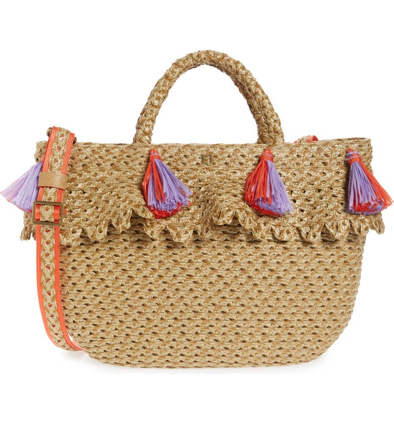 ERIC JAVITS Ruffle Squishee<sup>®</sup> Tote, Main, color, NATURAL/ FIESTA