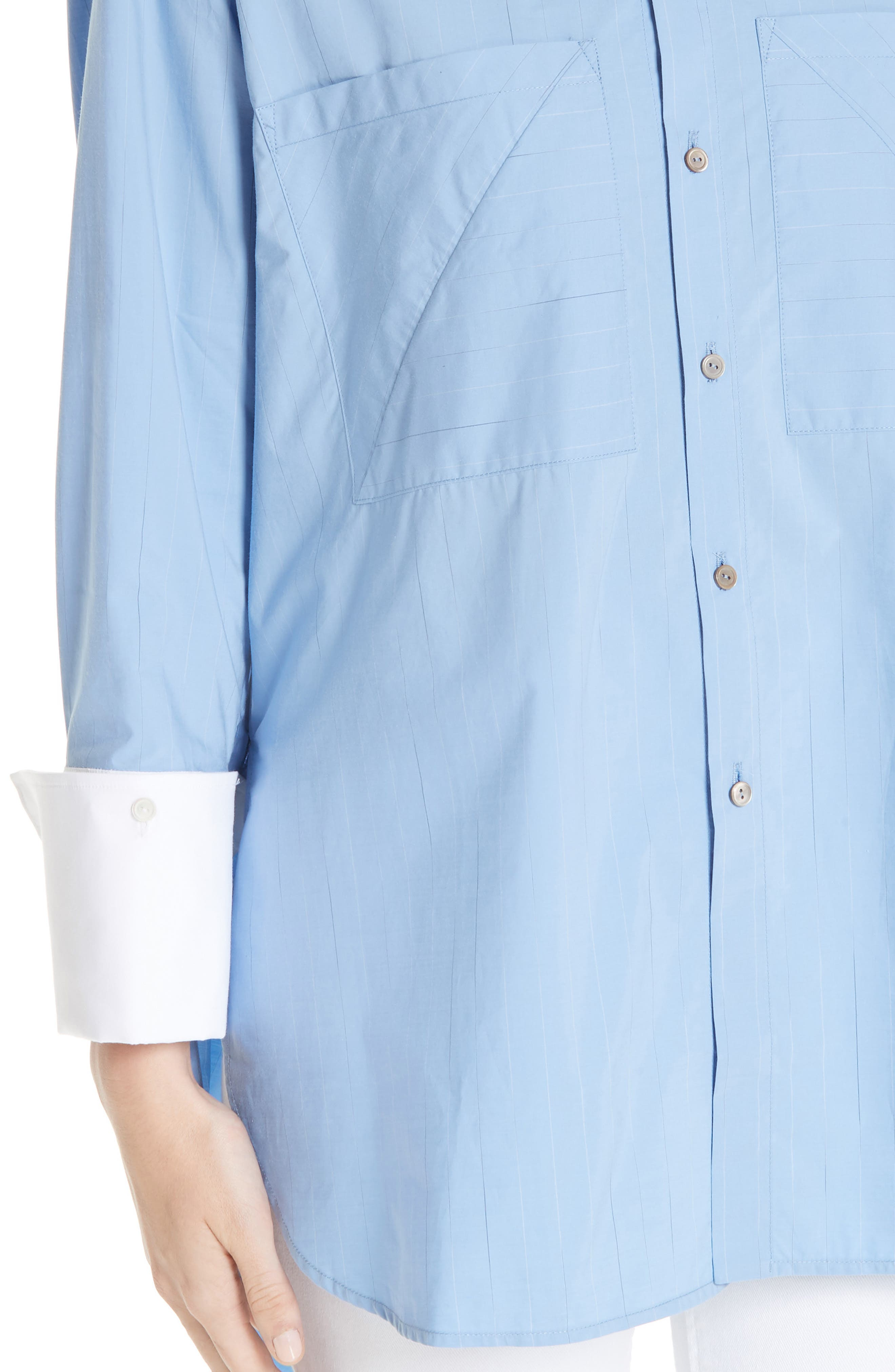 ,                             Oversize Boyfriend Shirt,                             Alternate thumbnail 4, color,                             BLUE RAIN STRIPE WITH WHITE
