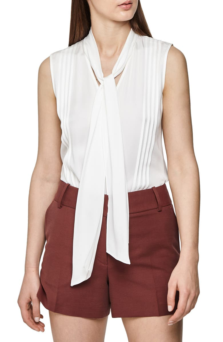REISS Trudie Pintuck Sleeveless Blouse, Main, color, 100