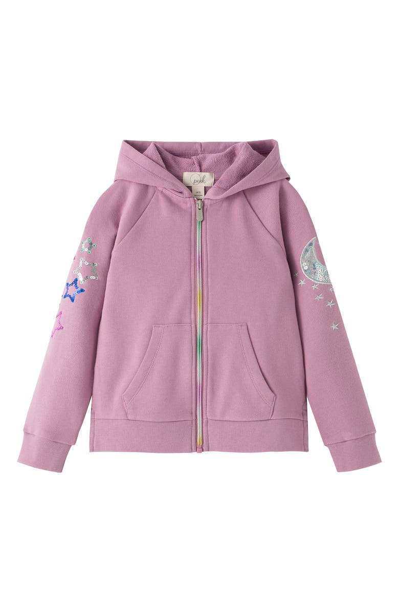 PEEK AREN'T YOU CURIOUS Moon & Stars Sequin French Terry Hoodie, Main, color, LILAC