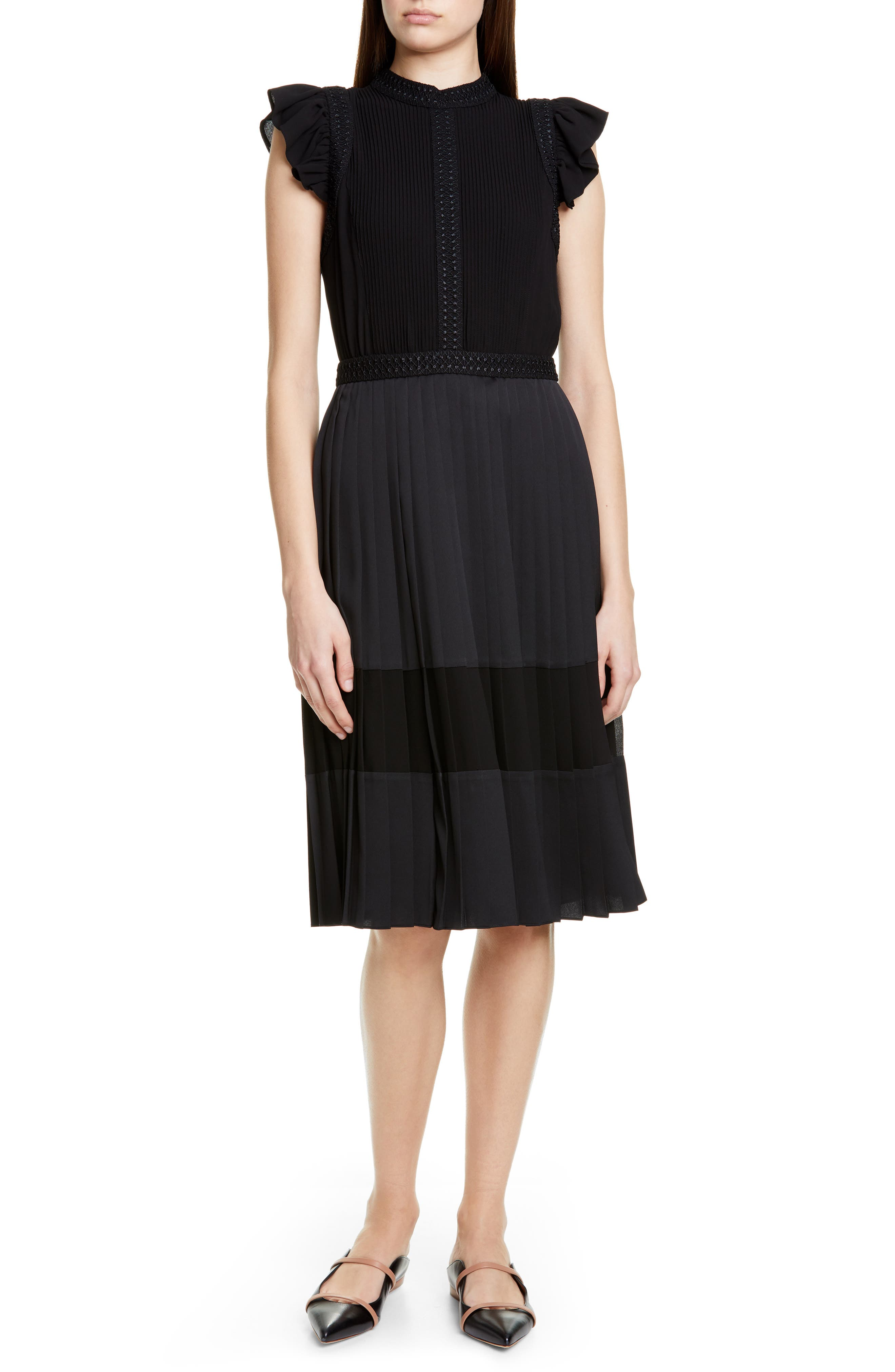 Ted Baker London Averele Ruffle & Pleat Midi Dress, Black
