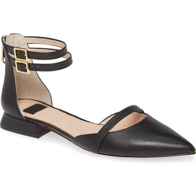 Louise Et Cie Ankle Strap Pointed Toe Flat, Black