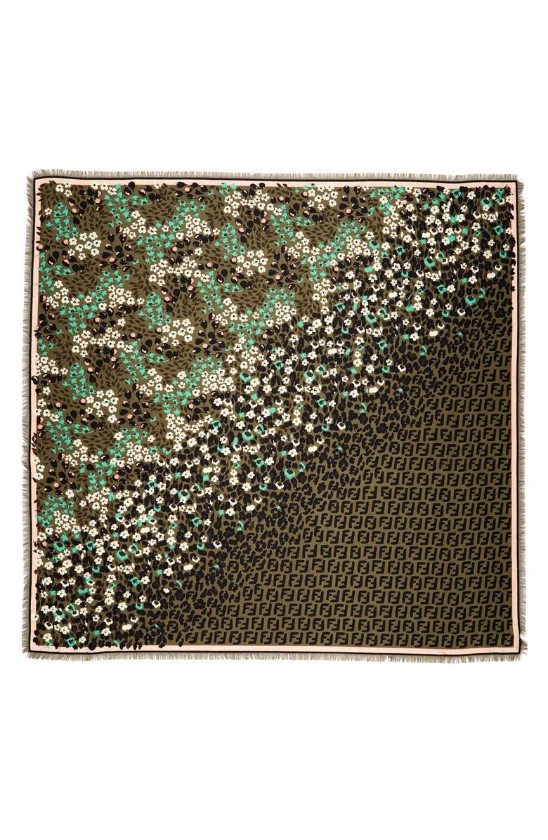 FENDI FF Floral Silk & Wool Shawl, Main, color, F0S7A GREEN FOREST