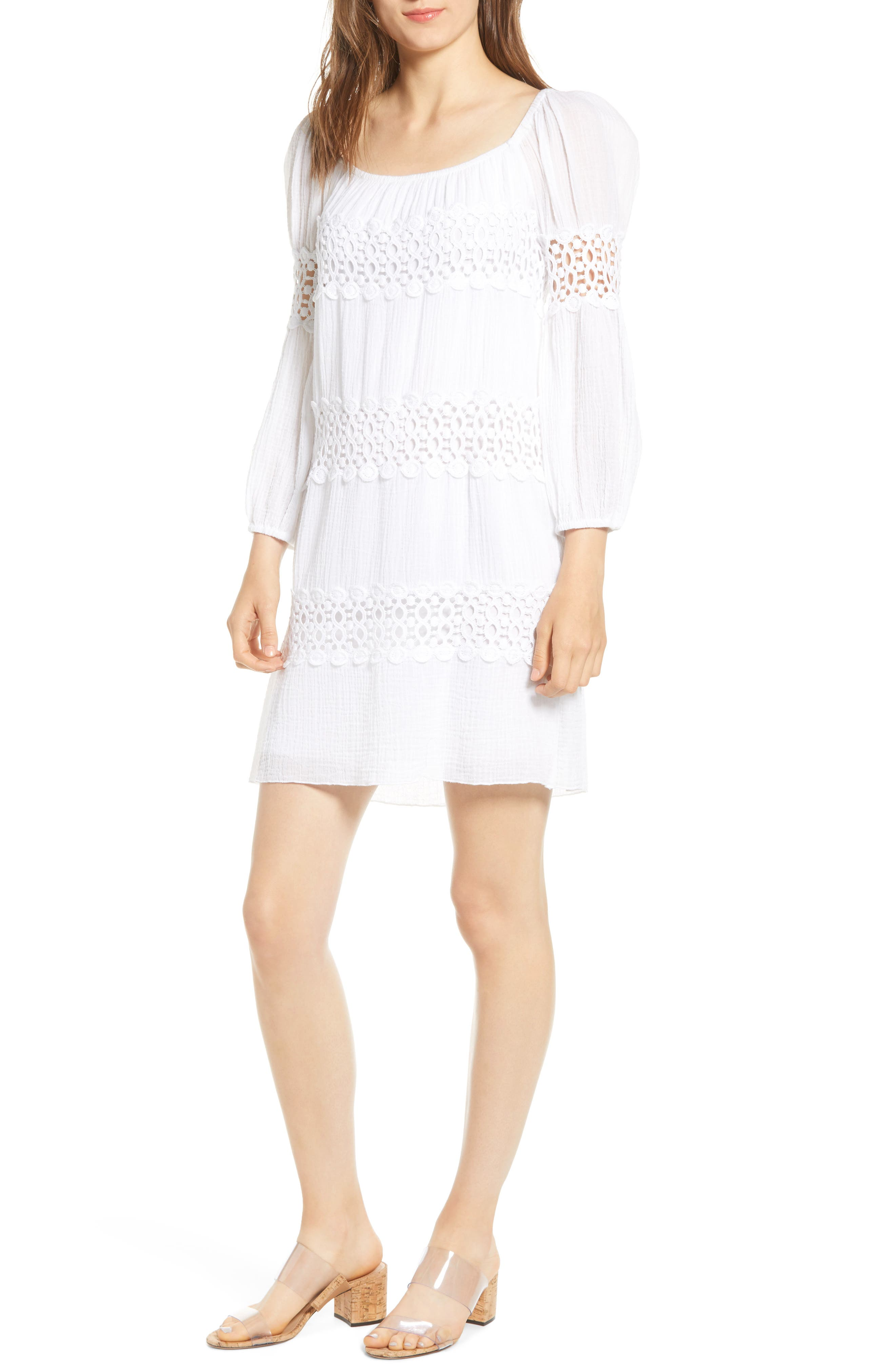 Bailey 44 Mykonos Lace Detail Long Sleeve Cotton Shift Dress, White