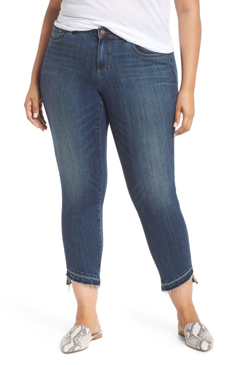 VINCE CAMUTO Indigo Curve Hem Skinny Jeans, Main, color, MID VINTAGE