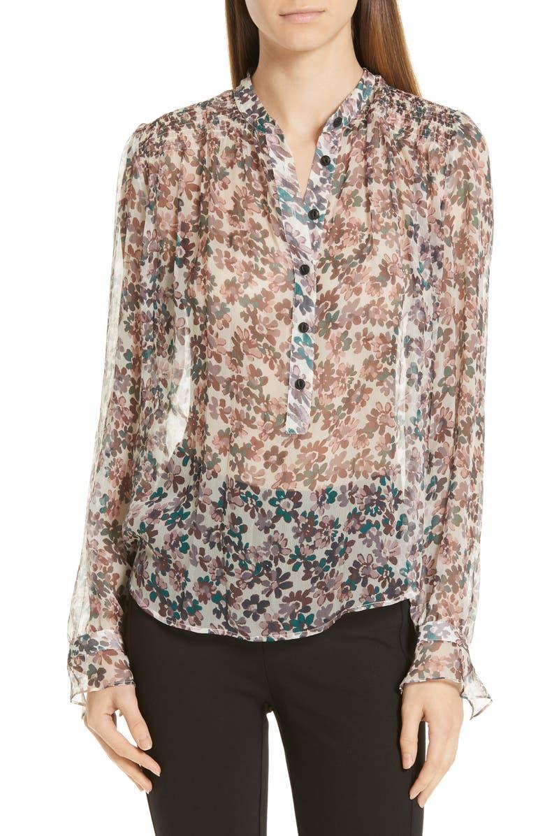 RAG & BONE Susan Floral Silk Blouse, Main, color, 900