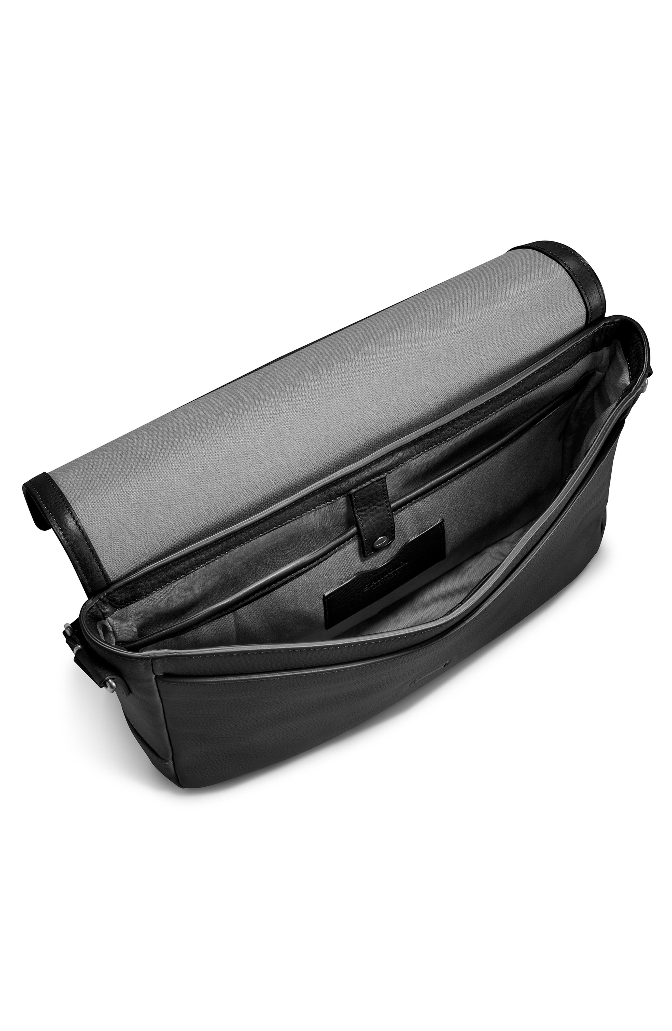 ,                             Slim Leather Messenger Bag,                             Alternate thumbnail 4, color,                             BLACK