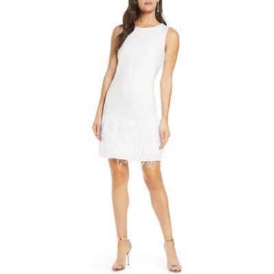Sam Edelman Feather Hem Sheath Dress, Ivory