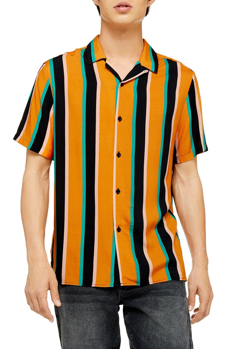 TOPMAN Slim Fit Stripe Short Sleeve Button-Up Camp Shirt, Main, color, ORANGE MULTI