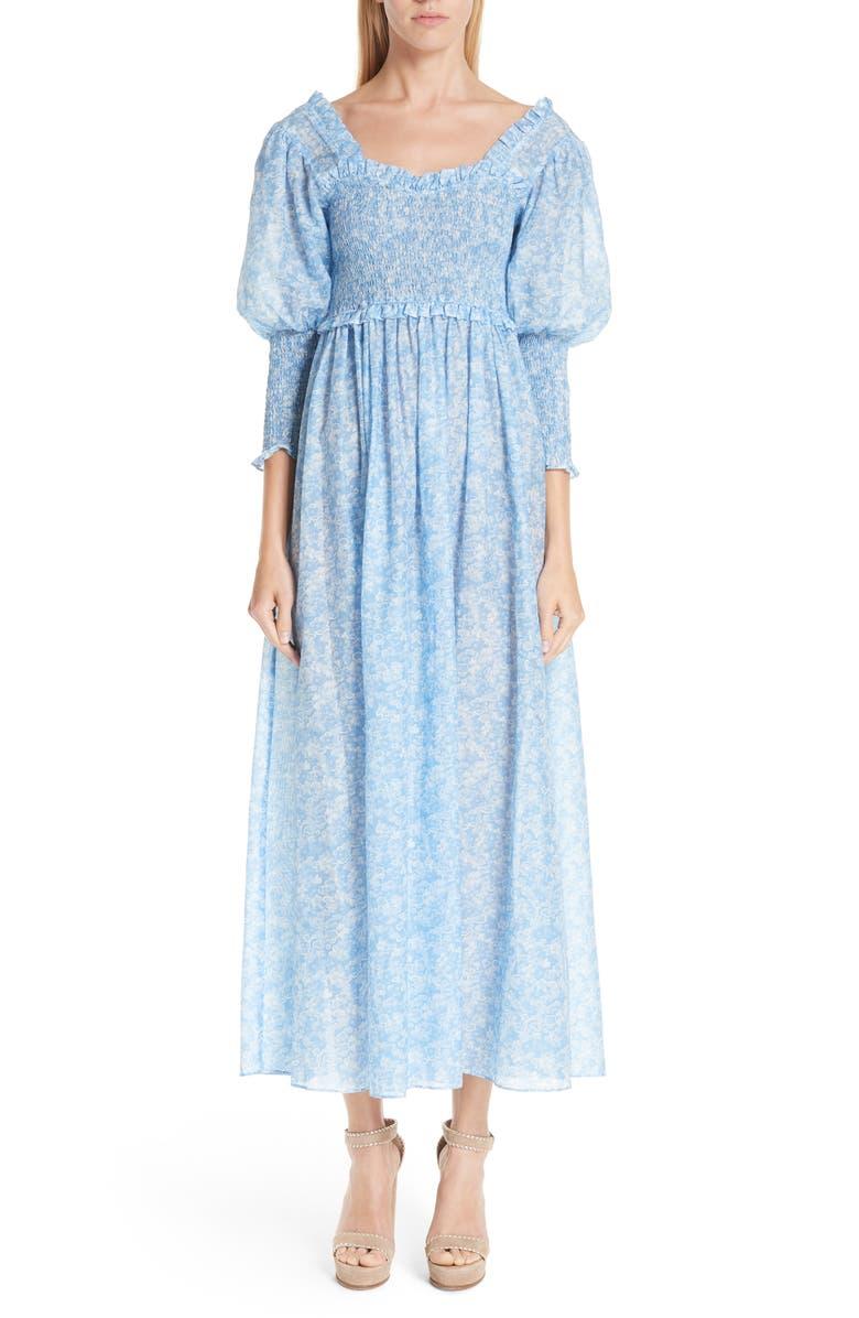GANNI Floral Smocked Maxi Dress, Main, color, 400