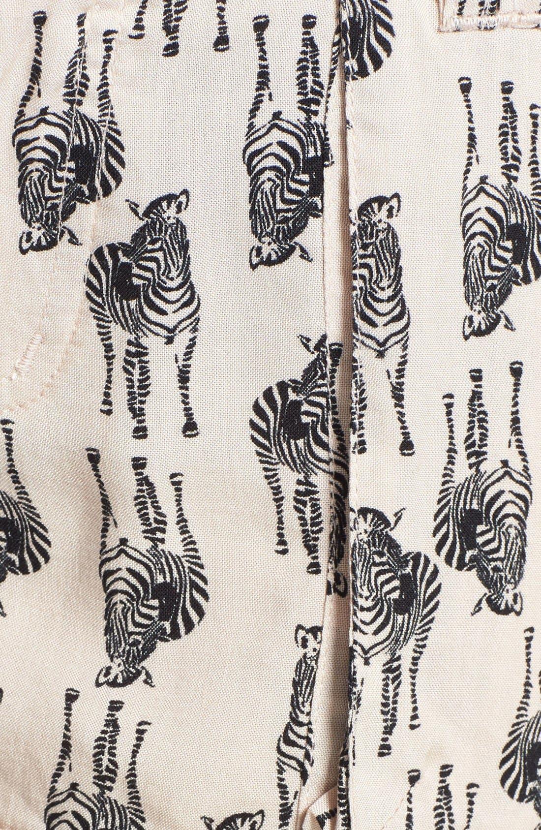 ,                             Zebra Print Tie Shorts,                             Alternate thumbnail 3, color,                             270